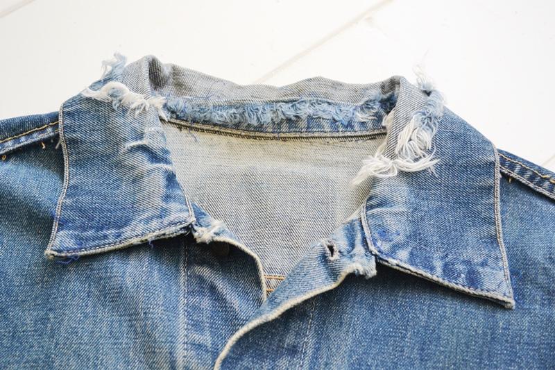 levis trucker jacket 557xx type 3 long john blog blue indigo denim jeans usa western 1962 worn out vintage original item clothing cowboys miners spijkerjas spijkerjack levi strauss (3)