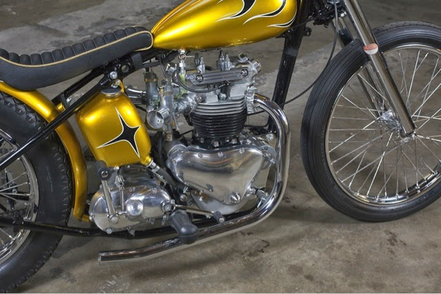long john blog gaston FlakeKings flakekings eindhoven hollan nl 1952 Triumph Pre-Unit Chopper 650cc. pre-unit painkiller triumph bikers bike for sale custommade handmade yellow ride of the day   (1)