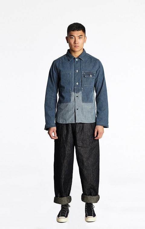nigel cabourn long john blog denim jeans shirt indigo spring summer 2016 uk england jeans denim patchwork cut and sewn (2)