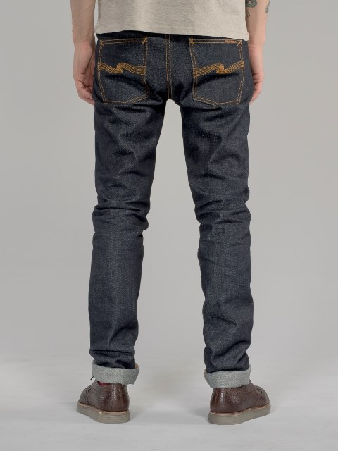 nudie jeans lean dean us selvage long john blog fabric selvedge denim blue indigo raw rigid unwashed patch leather sweden worn out  (3)