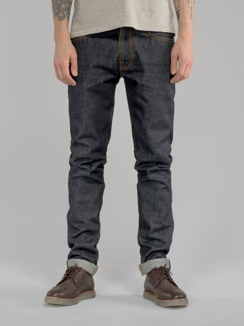 nudie jeans lean dean us selvage long john blog fabric selvedge denim blue indigo raw rigid unwashed patch leather sweden worn out  (7)