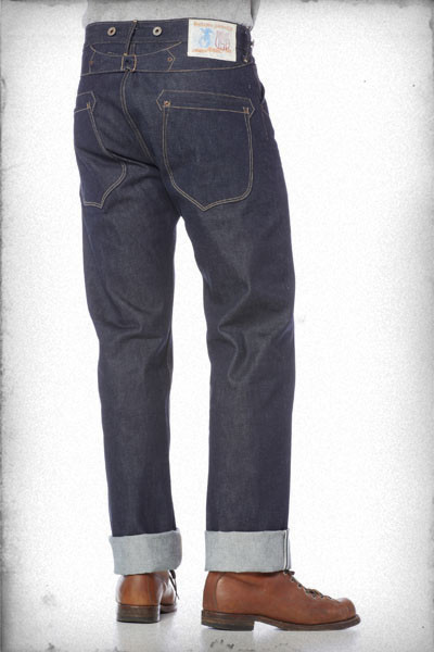 rising sun jeans blacksmith long john blog usa handmade rigid raw selvage selvedge fabric blue unwashed worn-out mike hodis 5 pocket yoke seam chain stich hem buttons donut patch paper leather (2)