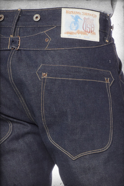rising sun jeans blacksmith long john blog usa handmade rigid raw selvage selvedge fabric blue unwashed worn-out mike hodis 5 pocket yoke seam chain stich hem buttons donut patch paper leather (3)