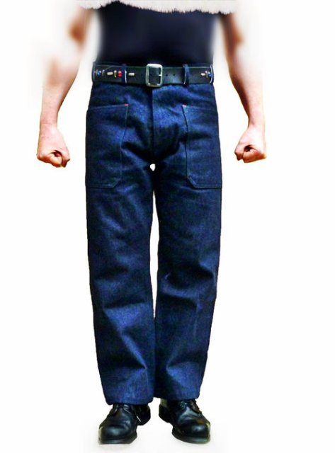 simon heart cathcart Hellcat Denim Dungarees long john blog jeans denim blue raw rigid shuttle loom selvage selvedge usa trouser pants  (6)