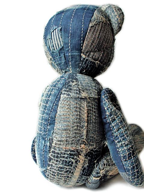 teddy bear kapital clothing long john blog japan rags boro sashiko stitching repair patched patch work handmade workwear jeans denim selvage selvedge buttons blue blauw teddy beer shades (4)