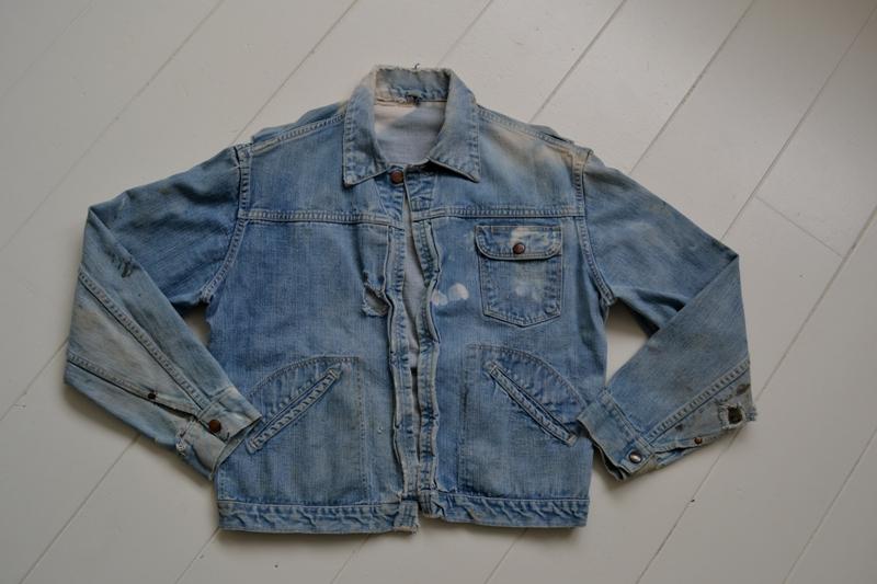 wrangler 8mz jacket long john blog jeans denim 8oz left hand fabric golden yellow selvage selvedge zipper one breast pocket usa blue bell 1951 (2)