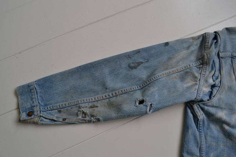 wrangler 8mz jacket long john blog jeans denim 8oz left hand fabric golden yellow selvage selvedge zipper one breast pocket usa blue bell 1951 (21)