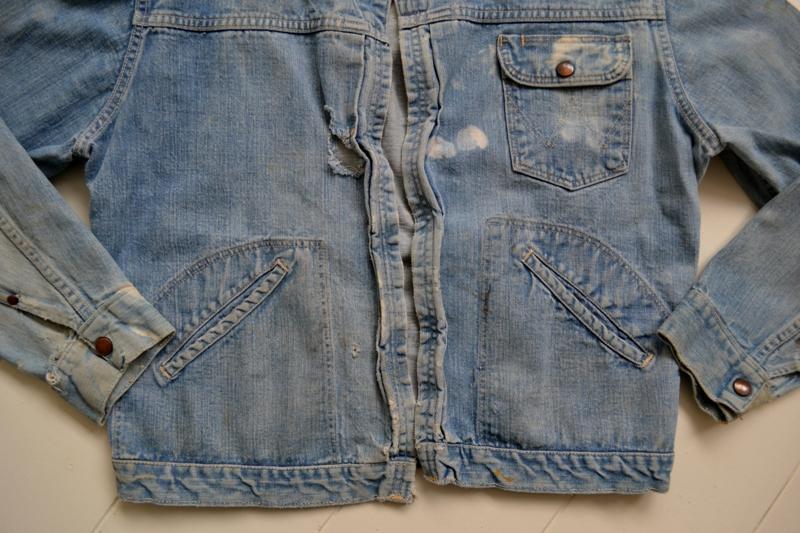wrangler 8mz jacket long john blog jeans denim 8oz left hand fabric golden yellow selvage selvedge zipper one breast pocket usa blue bell 1951 (5)