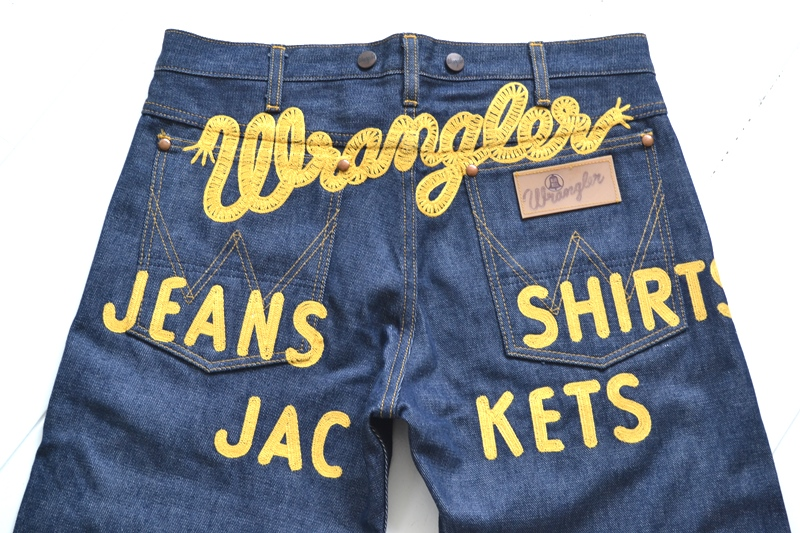 wrangler blue bell champion pants long john blog rodeo clown jeans denim deadstock non-selvage left hand fabric blue indigo usa western (15)