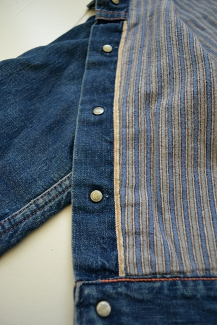 wrangler blue bell kids jacket jack long john blog rigid selvage yellow lined right hand fabric button c8 worn-out vintage treasure 1960 1970 usa america rare item (11)
