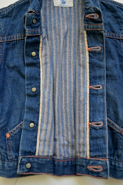 wrangler blue bell kids jacket jack long john blog rigid selvage yellow lined right hand fabric button c8 worn-out vintage treasure 1960 1970 usa america rare item (13)