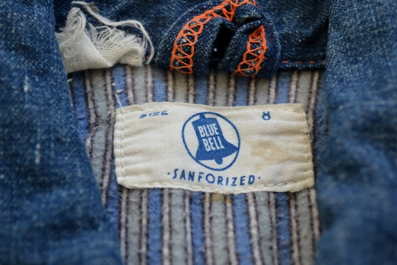 wrangler blue bell kids jacket jack long john blog rigid selvage yellow lined right hand fabric button c8 worn-out vintage treasure 1960 1970 usa america rare item (3)