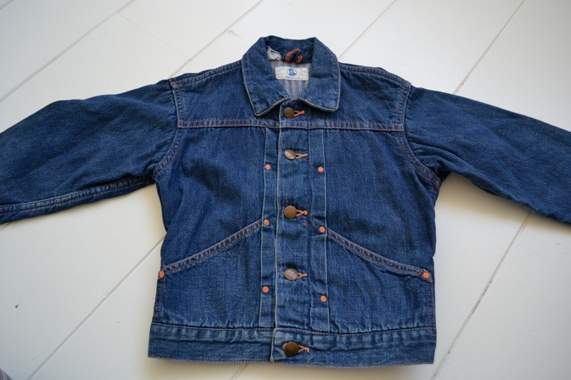 wrangler blue bell kids jacket jack long john blog rigid selvage yellow lined right hand fabric button c8 worn-out vintage treasure 1960 1970 usa america rare item (7)
