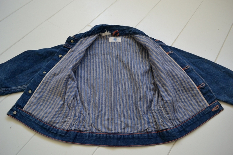 wrangler blue bell kids jacket jack long john blog rigid selvage yellow lined right hand fabric button c8 worn-out vintage treasure 1960 1970 usa america rare item (9)